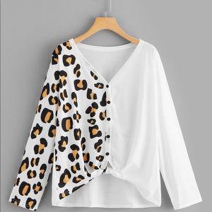 Tops - Plus Leopard Pattern Button Tie Front Cardigan